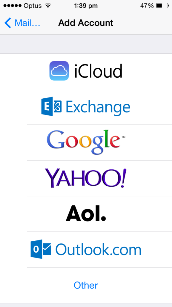 cloud telecom iphone email setting other