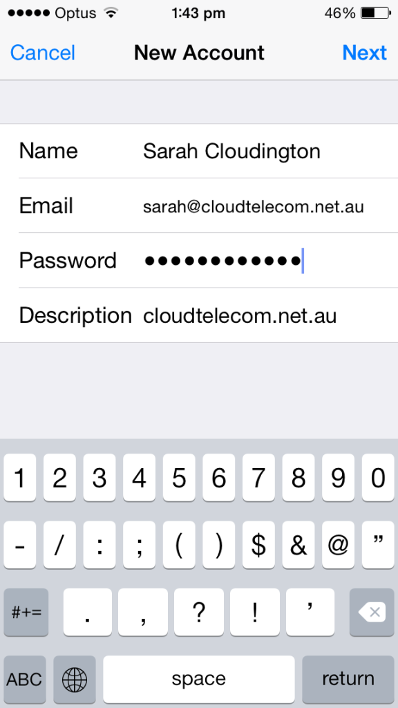cloud telecom iphone email details