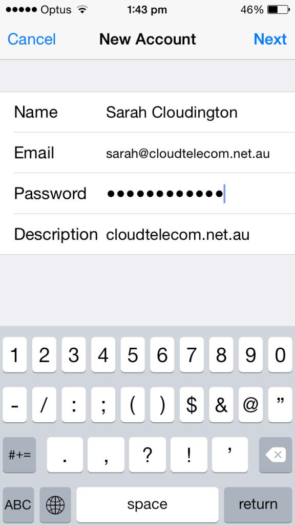 cloud telecom iphone email details