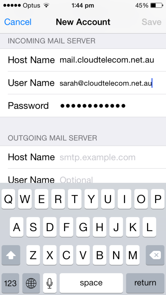 cloud telecom iphone email server