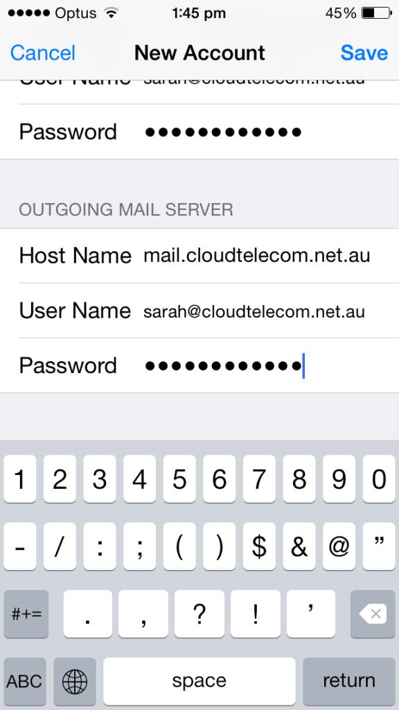cloud telecom iphone email outgoing server